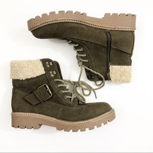 Universal Thread Olive Green Sherpa Lace Up Boots
